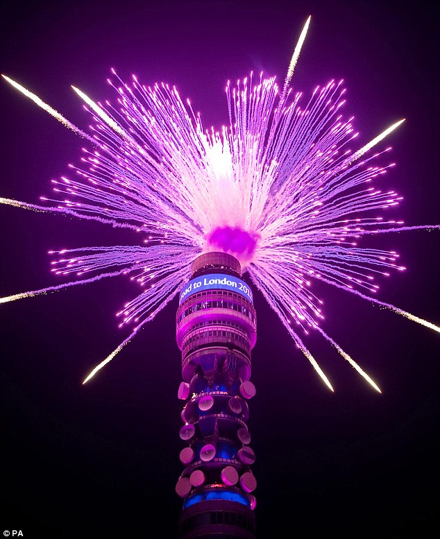 BT Tower celebrates the 1000-day countdown to the London Olypic games with a bang.