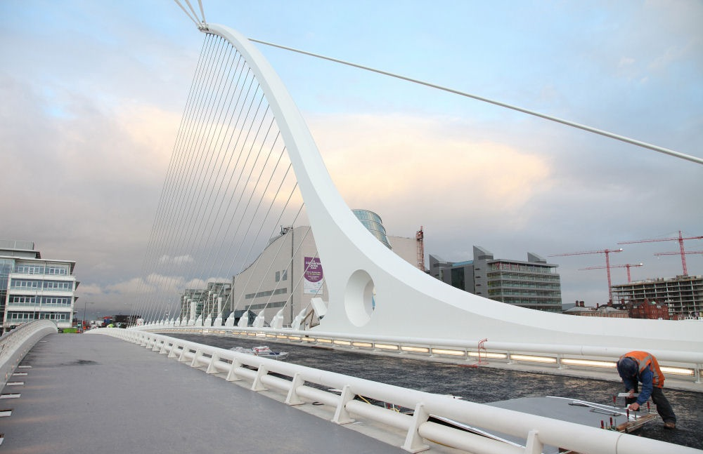 Samuel Beckett Bridge in Dublin, Ireland.